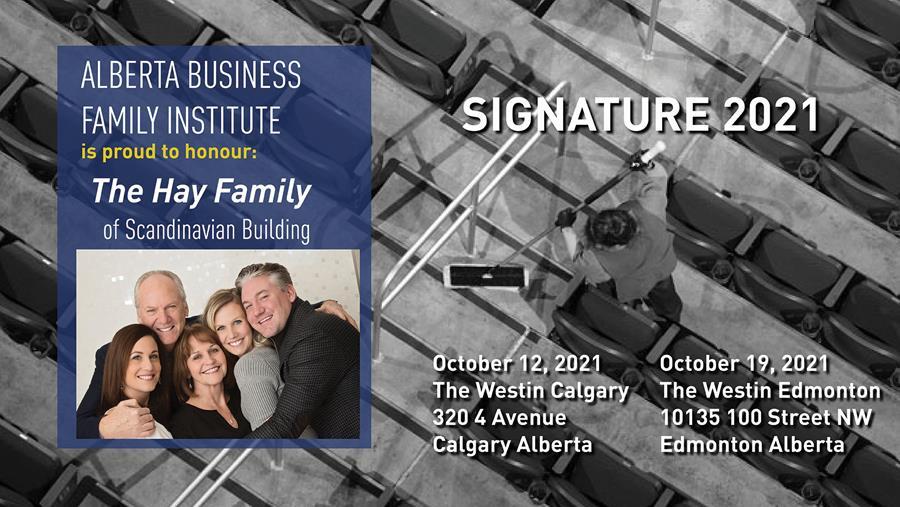 graphic promoting the Alberta Business Family Institute Signature Event 2021