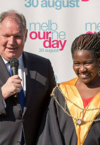 Lord Mayor Robert Doyle and Junior Lord Mayor Ebony Chizor