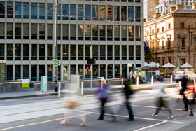 People crossing a street in Melbourne