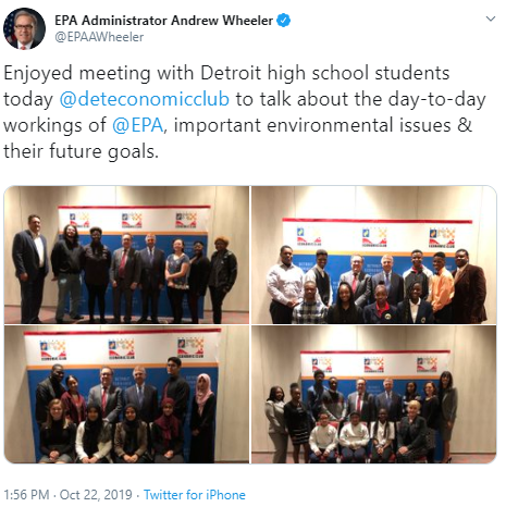 Tweet from Administrator Wheeler stating that he enjoyed meeting Detroit high school students to talk about the day-to-day workings of EPA, important environmental issues, and their future goals.