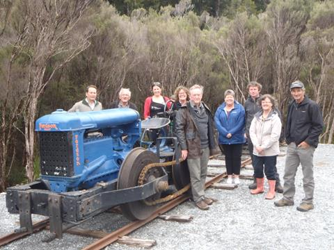 Board visiting the newly restored and installed Blacks Locie tractor in Pakihi, Novemeber 2016. Photo credit: Philippa Freeman DOC.