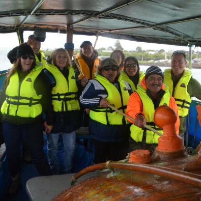 Taranaki Whanganui Conservation Board aboard Chaddy's Charters within the Nga Motu Marine Reserve.