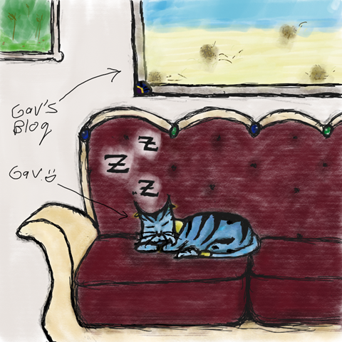 Fan Art of Gyrinx Alorynis chilling on Eldrad's couch