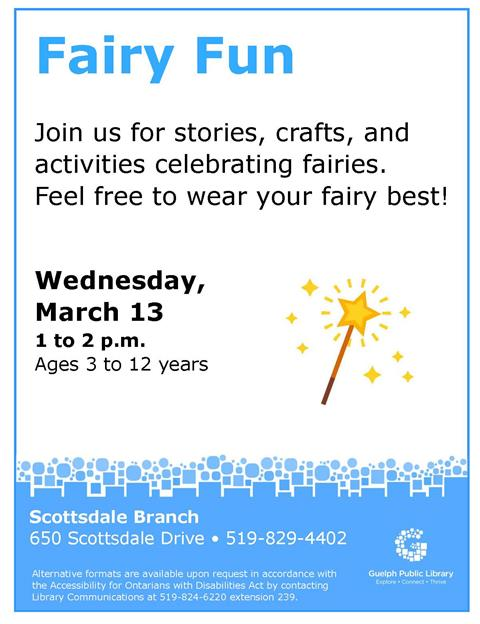 Join us at Scottsdale Branch for stories, crafts, and activities celebrating fairies. Feel free to wear your fairy best!