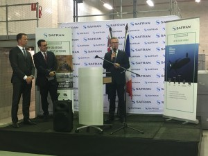 Minister for Defence Christopher Pyne speaking at the opening of Safran's new facility in Botany.