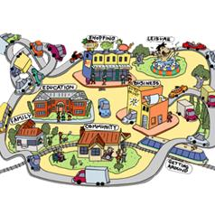 An illustration of a small town.
