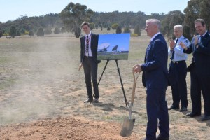 Deputy PM Michael McCormack turned the first soil for the construction of the satellite ground station. Michael McCormack via Twitter