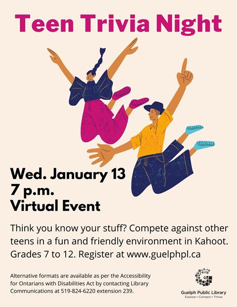 Teens in grades 7 to 12 are encouraged to register to compete against other teens in a fun and friendly environment. Register for this virtual event. Wednesday, January 13 at 7 p.m.