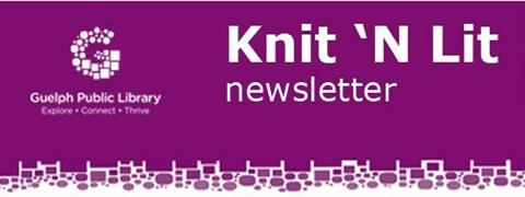 """This is the title image for the knit n lit newsletter. I also has the graphic letter """"G"""" as part of the Guelph Public Library logo."""