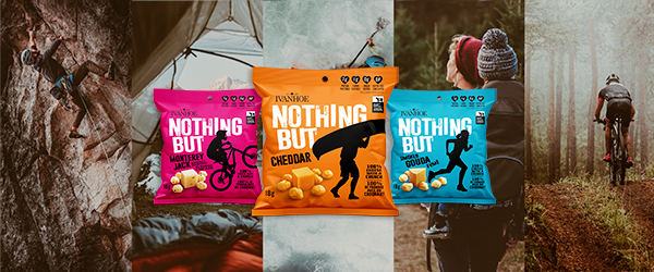 Ivanhoe Nothin' But Cheese grab and go snacks on an adventure background
