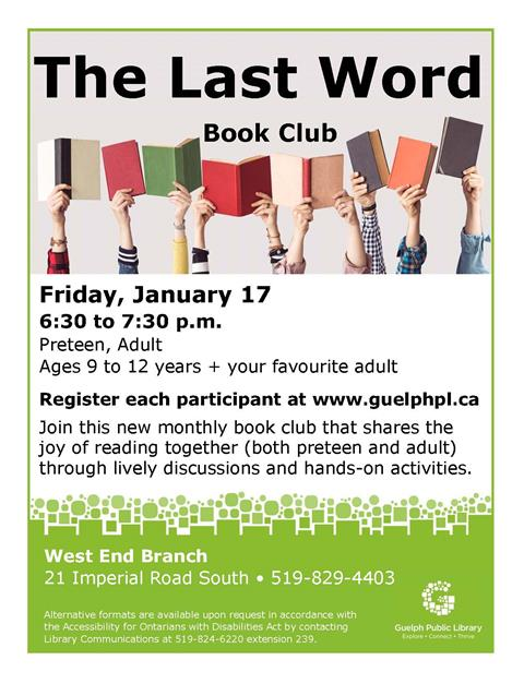 Spark your excitement with this book club that shares the joy of reading through lively discussion and hands-on activities. Please register each 9 to 12 year old and adult attending at http://guelphpl.libnet.info/event/3344283