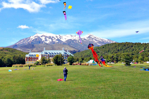 Kite flying at Chateau Tongariro and Mount Ruapehu