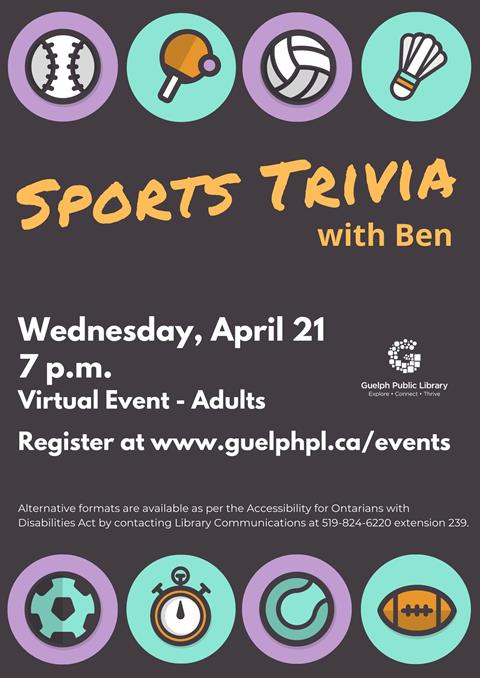 Library advertisement for the free online program, Sports Trivia with Librarian Ben on Wednesday April 21 at 7 p.m.