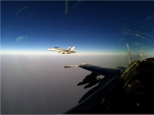 The view from the cockpit of an Australian F/A-18A Hornet on operations in the Middle East.