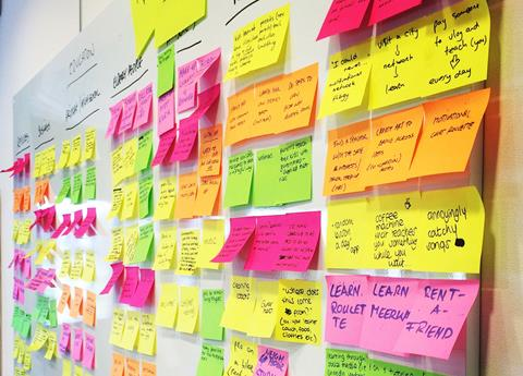 A wall of sticky notes.