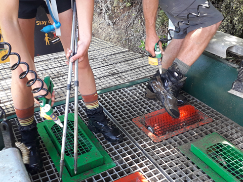 Hikers cleaning gear at Dome valley, Auckland. Photo: Joanne Aley
