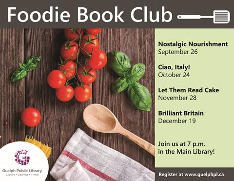 Join us one Thursday a month at the Main Library for our new Foodie Book Club. Next meeting is September 26.