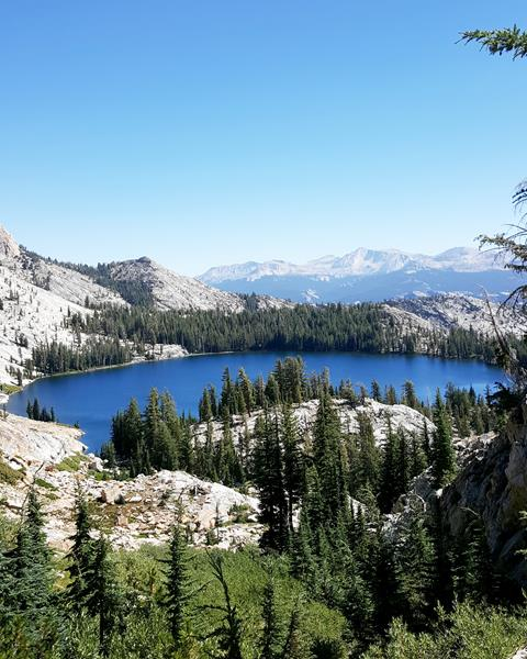 Calm blue alpine lake photographed from above on green mountain. Rocky outcroppings in the background. Photo by Gretchen Roecker.