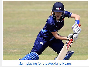 Sam playing for the Auckland Hearts