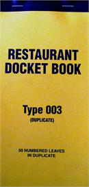 Restaurant docket book image