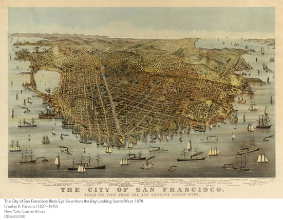 The City of San Francisco Birds Eye View from the Bay Locking South-West 1878