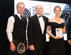 Dr Andrew Struan, Dr Jessica Bownes, and Dr Matthew Williamson collect the Times Higher Education award for Academic Support Team of the Year 2018