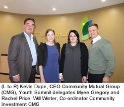 Kevin Dupé, CEO Community Mutual Group (CMG), Youth Summit delegates Myee Gregory and Rachel Price, Will Winter, Co-ordinator Community Investment CMG