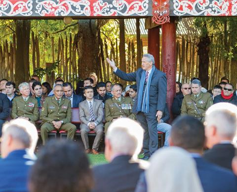 The Council's Kaumatua, Tame Pokaia, speaks at Kirikiriroa Marae during the Pōwhiri which preceded the Citizenship Ceremony for the Afghan interpreters and their families.