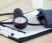 Blood pressure cuff on a table