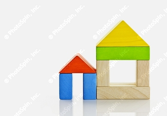 Building blocks in the shape of a house