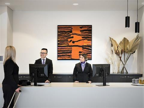 The reception desk at Quest Orange