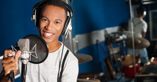 Young man in recording studio