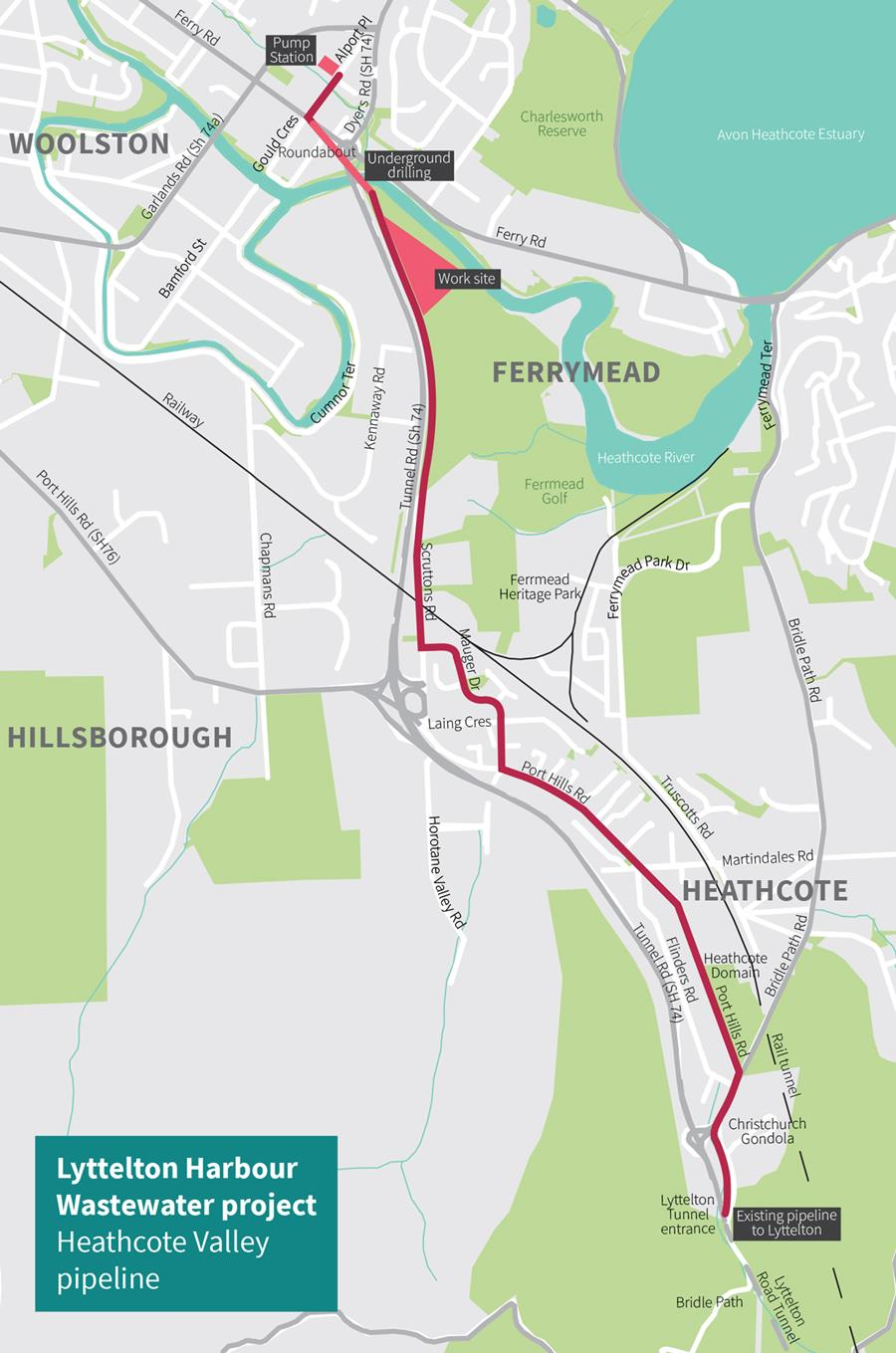 Map of the Heathcote Valley pipeline
