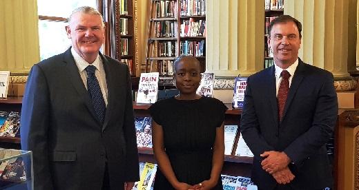 Shaun Lean MP, Maria Mupanemunda and Colin Brooks MP