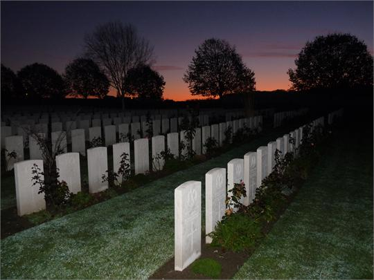 Sunrise at Hooge Crater Cemetery, Belgium