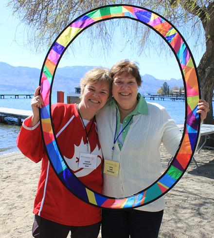 SO Team Canada mission staff Leslie Thornley and bocce coach Dona Cade of SOBC with the LA 2015 Circle of Inclusion