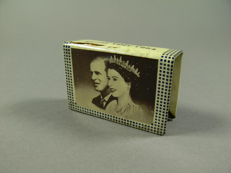 Royal visit 1954 commemorative matchbox holder