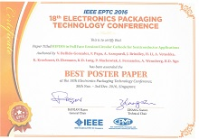 Gencoa award for Best Poster Paper at EPTC 2016