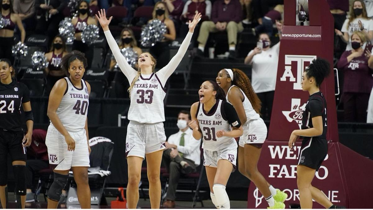 Texas A&M women's basketball team celebrating on court during game