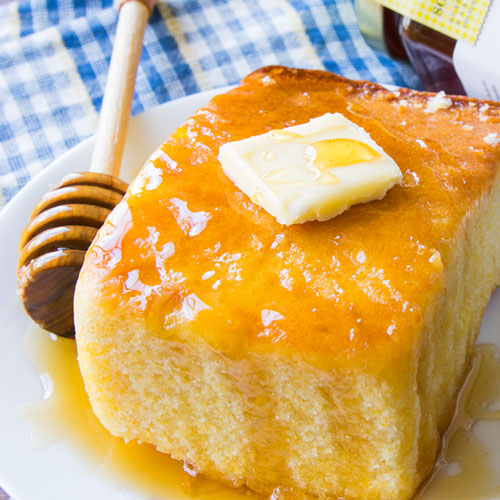 Honey on corn bread