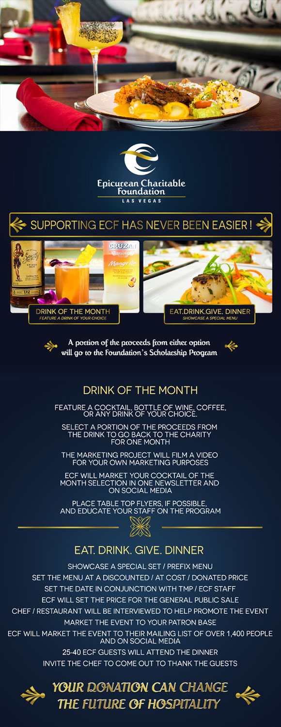 Drink of the Month and Eat. Drink. Give Dinner flyer