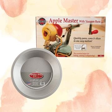 Apple peeler/corer/slicer and a pie pan