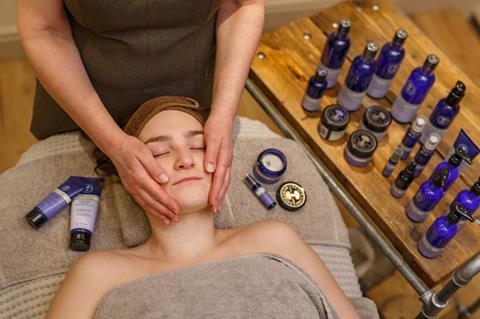 Lady having a face massage