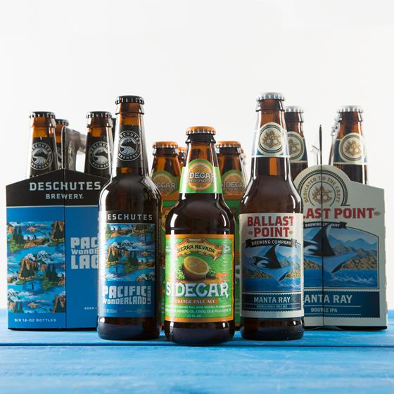 Deschutes Pacific Wonderland Lager, Sierra Nevada Sidecar Pale Ale, and Balast Point Manta Ray