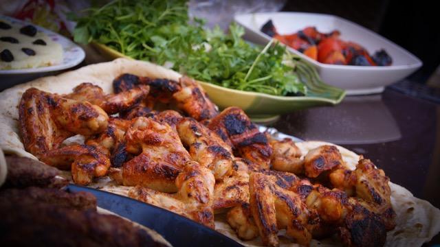 Ffolkes feast - grilled chicken on flatbread