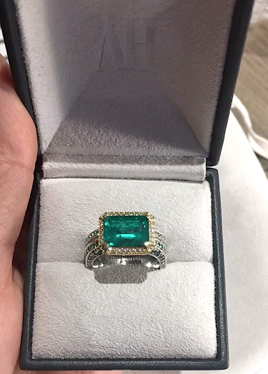 Emerald and Diamond unique Ring by Alice Herald