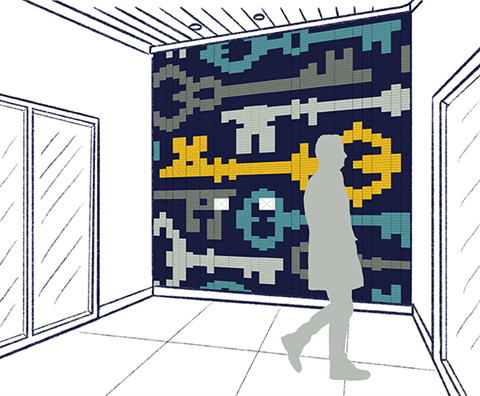 Rendering of a wall in an entryway between outer and inner doors, with a figure of a person walking past, with a navy blue background tiles and keys in teal, silver, pewter and gold formed out of glass tiles.