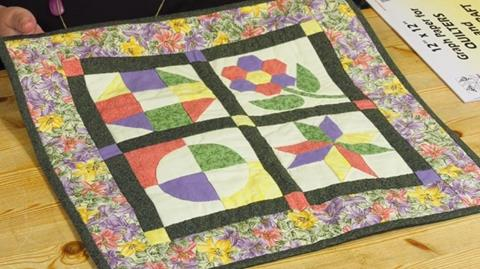 Small 4-block sampler quilt pieced by hand with Paula Doyle
