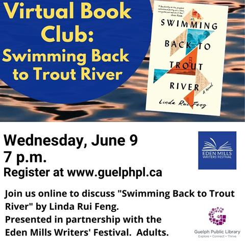 Library advertisement for the virtual book club: Swimming Back to Trout River on Wednesday June 9 and 7 p.m. Registration is required.