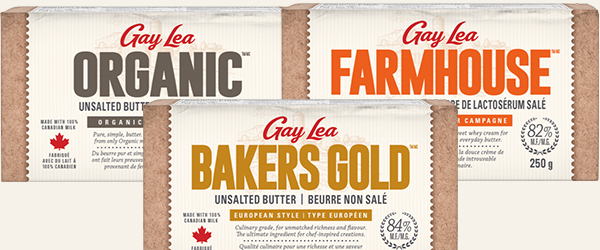 Gay Lea organic unsalted butter, bakers gold unsalted butter, and farmhouse salted whey butter.